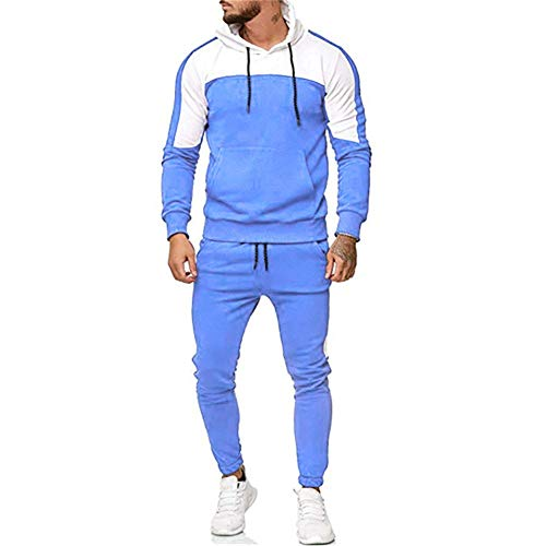 Hooded Jumpsuit Londony ♥‿♥ Mens Stripe Colorblock One Piece Long Sleeve Zipper Sport Pants Overalls - Colorblock Zipper