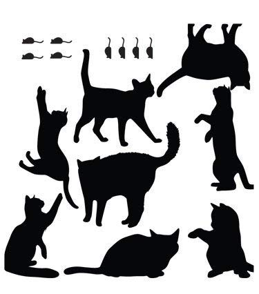 BE GOOD Funny Black Cat and Mouse Wall Art Removable Light Switch Decals Wall Stickers for Home Hotel