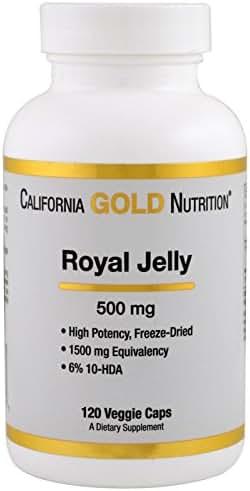 California Gold Nutrition Royal Jelly 500 mg 120 Veggie Caps, Milk-Free, Egg-Free, Fish Free, Gluten-Free, Peanut Free, Treenut Free, Shellfish Free, Salt-Free, Soy-Free, Sugar-Free, Wheat-Free, CGN