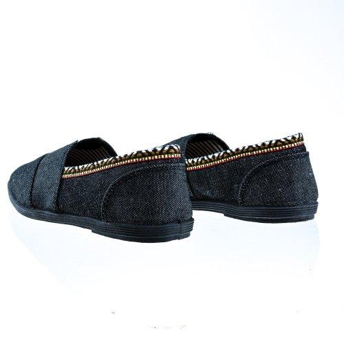 Bout Rond Occasionnel Slip Sur Lin Sneaker Plat Chaussures Femme Noir Den