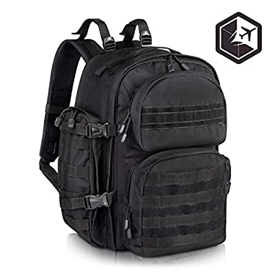 VENTURE 4TH Premium Black Military Tactical Backpack for Men | Large Assault, Water Resistant, Survival Rucksack and Molle Bug Out Bag | Ideal for Hiking, Camping, Trekking, Outdoor and Hunting