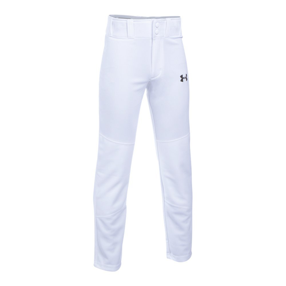 Under Armour Boys' Lead Off Baseball Pants, White/Black, Youth Small by Under Armour