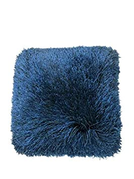 N BE Shaggy Collection, Decorative Shag Pillow, 18×18, Blue