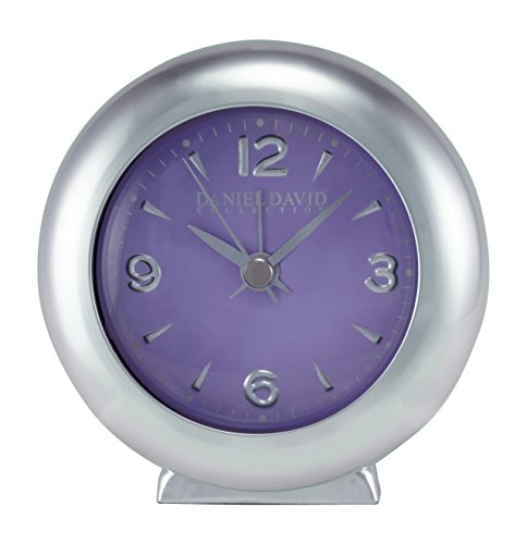 Daniel David | Retro Silver-Tone and Purple 4 Inch Diameter Round Aluminum Alarm Clock for Home or Office | BA0002
