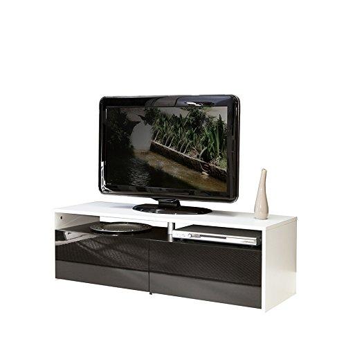 Symbiosis 3030A0212L00 Meuble TV avec  2 Tiroirs Bois Blanc//Laque//Noir 119,4 x 37 x 40 cm