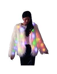 M MAYEVER Fluffy Faux Fur Coat Jacket Shiny Light Up Women Outerwear