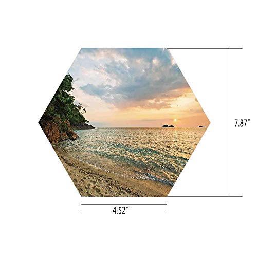 iPrint Hexagon Wall Sticker,Mural Decal,Landscape,Sunset Dawn Sea Ocean Island Romance Tropic Botanic Tree Photo,Turquoise Green Cream Peach,for Home Decor 4.52x7.87 10 Pcs/Set