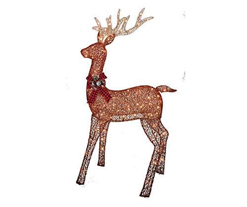 Winter Wonder Lane Brown Glittering Light-Up Buck (Outdoor Light Reindeer Decoration Up)