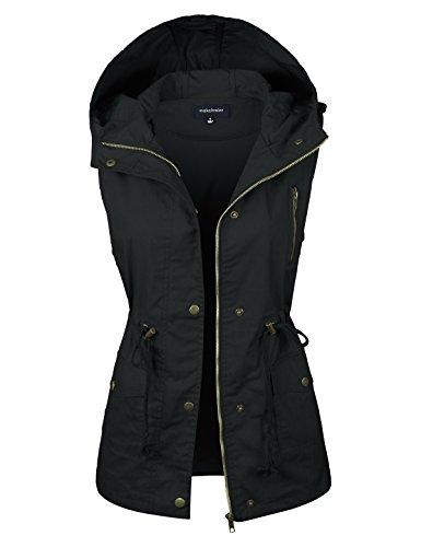 (makeitmint Women's Hooded Utility Pocket Anorak Jacket Vest [S-3XL/9 Colors] YJV0018-43BLACK-MED)