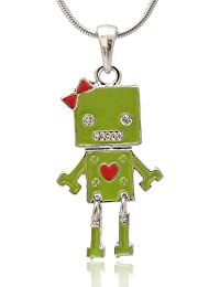 Silver Plated Ribbon Head Robot Necklace (Green)