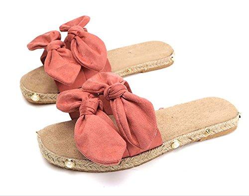 Beige Zapatillas Zapatillas Rosado Cómodas Bowknot Rosa 39 Salvajes Sandalias Playa de 35 Talla Playa de Negro qtW1tfTz4
