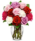 From You Flowers - One Dozen Roses in Pink, Red, Purple, White (Free Vase Included)