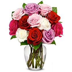 From You Flowers - One Dozen Long-Stemmed Roses in Pink, Red, Purple, White (Free Vase Included) for Valentine's Day