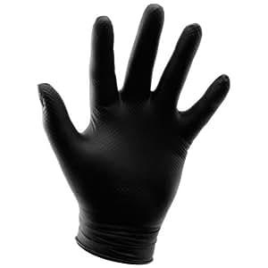 Grower's Edge Powder Free Diamond Textured Nitrile Glove, Black - XL (100/Box)