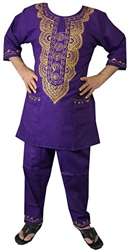(Decoraapparel african clothing attire mens ethnic pants suits traditional brocade wedding festival hippie dashiki style)