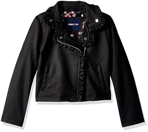 Limited Too Girls' Big Vegan Leather Moto Jacket with Ruffles, Black, 7/8 -