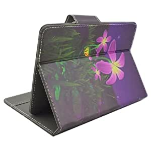 Purple Flower Under The Night Sky Pattern Universal Horizontal Flip Leather Case with Holder for 10 inch Tablet PC