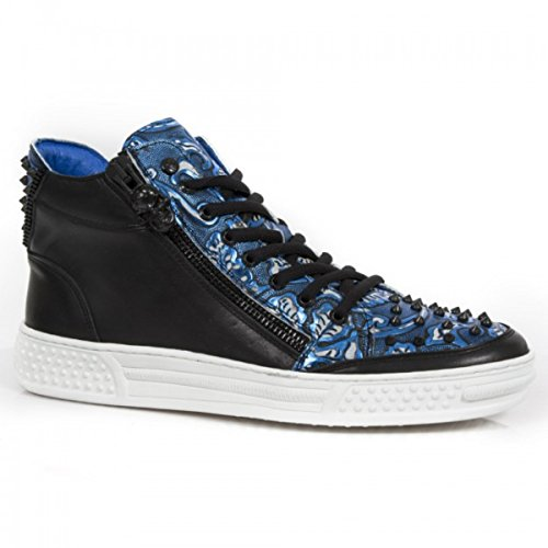 New Rock Flor Polar NEWROCK PS029 S7 Negro Blanco vintage azul tachonado zapatillas zapatos talla 44
