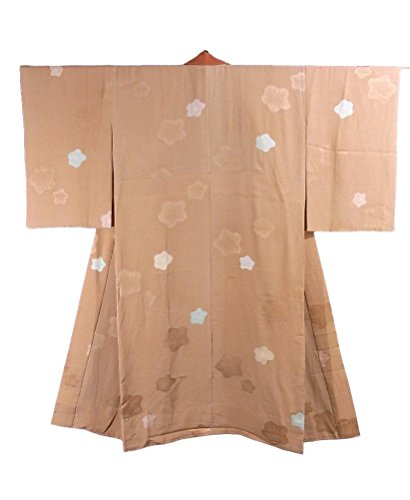 細分化する話をする言い直すリサイクル 襦袢 袖無双  梅の花 地紋おこし 正絹 裄63.5cm 身丈131cm