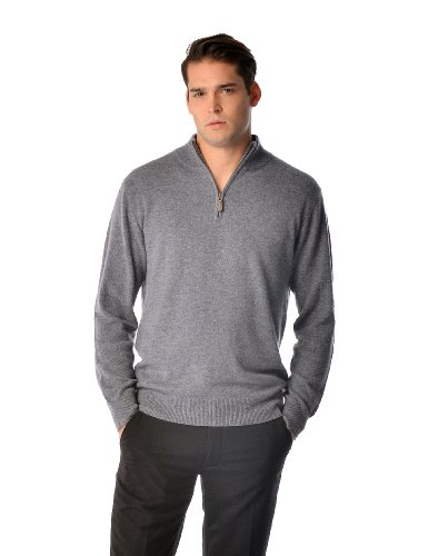 Men's Pure Cashmere Half Zip Sweater (Charcoal, Large)