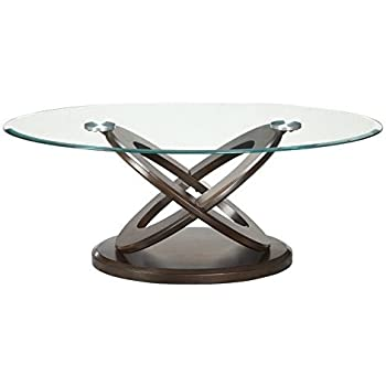 Coaster 702788 Occasional Group Oval Coffee Table With Tempered Glass Top  And Intersecting Rings Legs In