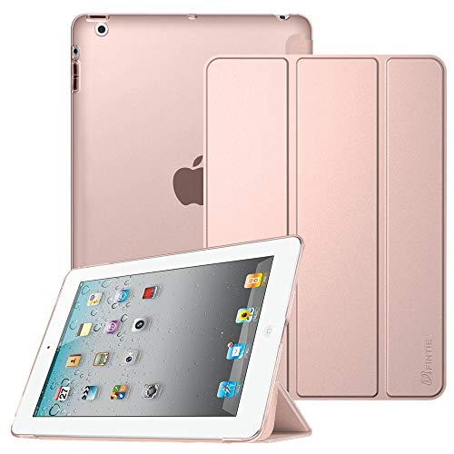 Fintie iPad 2/3 / 4 Case - Lightweight Smart Slim Shell Translucent Frosted Back Cover Supports Auto Wake/Sleep for iPad 4th Generation with Retina Display, iPad 3 & iPad 2, Rose Gold (Apple Smart Ipad 4 Case)