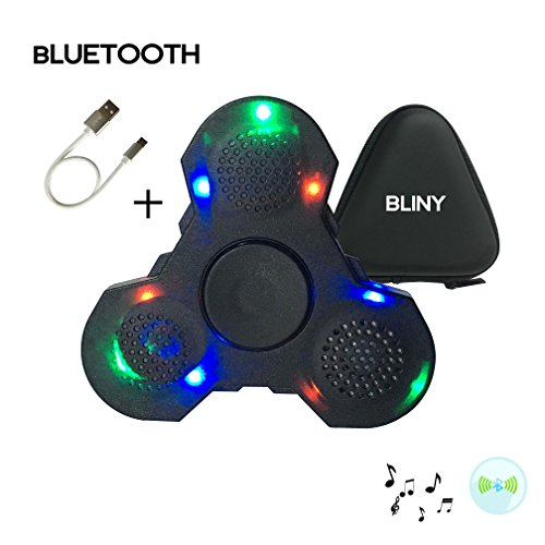 Price comparison product image BLINY New LED Light MINI Bluetooth Audio Hand Fidget Spinner Music Speaker,Perfect For ADD,ADHD,Autism and Pressure Relief Killing Time Finger Toy - Black