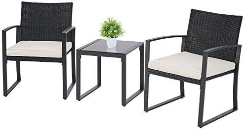 SOLAURA 3 Pieces Patio Furniture Set Outdoor Wicker Conversation Set Modern Bistro Set Black Rattan Balcony Chair Set