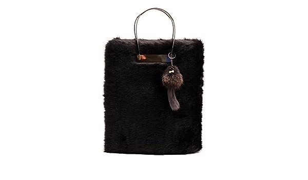 498a0707e5 Zarapack Women s Designer Large Black Faux Fur It Bag Shoulder Bag Runway  Tote Bag (bag with fox)  Handbags  Amazon.com
