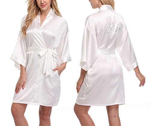 c87895d427 FADSHOW Short Bridal Kimono Robe Dressing Gown with Rhinestone for Bride  and Bridesmaids - Buy Online in UAE.
