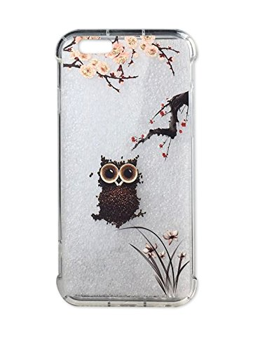 - iPhone 6 Case, Cute Cherry Flower Design for Girls with Chinese Orchid Clear Bumper Shockproof Flexible Silicone Protective Cases Floral Pattern for iPhone 6/6s (Coffee Bea Owl)