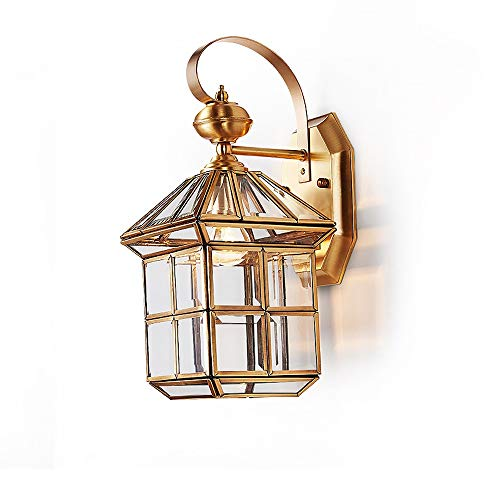 Modenny Aluminum Glass E27 Wall Lanterns European Villa Garden Outdoor Waterproof Wall Sconces Antique Vintage Indoor Outdoor Exterior Wall Lights Terrace Aisle Courtyard Outdoor Wall ()
