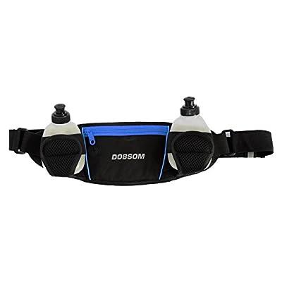 Dobsom ceinture porte-bidon avec 2 bidons et 1 poche ventrale, ceinture de jogging avec, sac banane hip pack 2, trinkflaschenhwarz/bleue et 1 étui