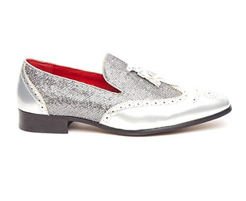 da pelle Shimmer scarpe party Rossellini nappa Dress uomo in Patent Silver Brogue Shiny Linea Fancy mocassini Rqxa4xTd