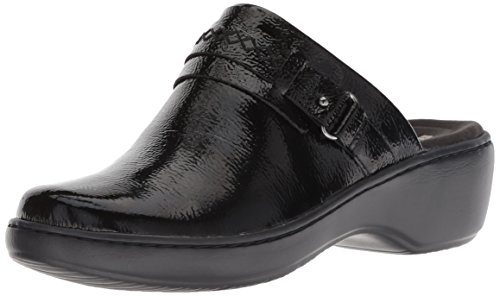 CLARKS Women's Delana Amber Clog, Black Patent Leather, 110 M US