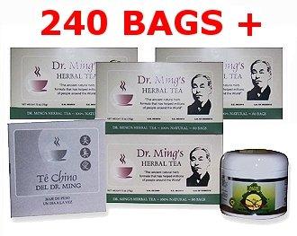 Te Chino del Dr. Ming Chinese Tea 4 PACK 240 sacs + 1 Slim Réduire la crème + 1 guide