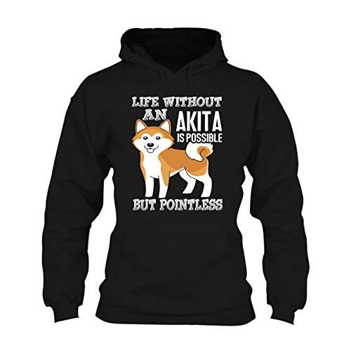 Life Without an Akita Long Sleeve Hoodie, Hooded Sweatshirt Black,XL ()