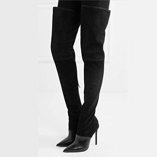 Punta Novedad a Black YC De En L Comfort Rodilla MarróN Media Con Boots Profesional La Vestido Mujer Y Botas Pierna Oficina Zapatos Suede Negro FAOxxzqYn