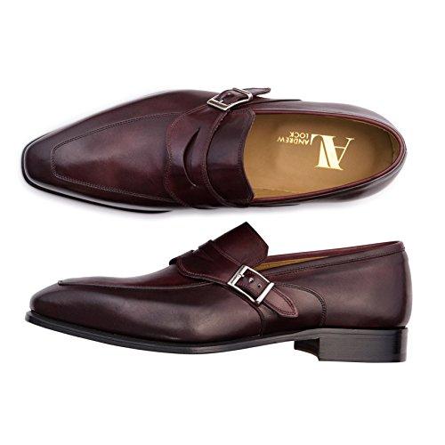 Mocasines Monkstrap De Andrew Lock Hybrid Zapatos De Hombre De Borgoña Bruñido A Mano - Zapato Libre