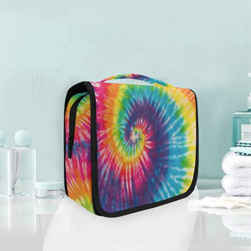 Toiletry Bag Abstract Swirl Rainbow Tie Dye Hanging Organizer Bag Wash Gargle Bag Cosmetic Bag Portable Makeup Pouch with Hanging Hook Travel ()