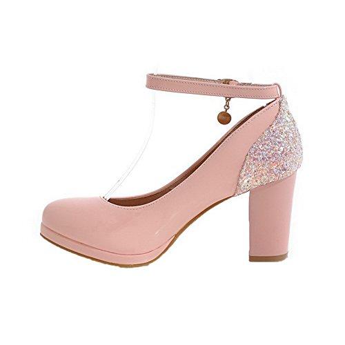 Absatz Hoher Schnalle Pink Schließen Eingelegt Schuhe Zehe AgooLar Pumps Damen fxaOWv