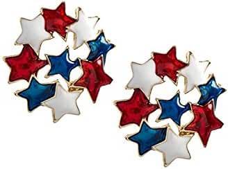 TRENDY FASHION JEWELRY PATRIOTIC STAR CLUSTER EARRINGS BY FASHION DESTINATION