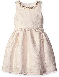 Girls' Beige Flower Print Brocade Dress
