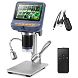 Koolertron 4.3 inch 1080P LCD Digital USB Microscope with 10X - 220X Magnification Zoom,8 LED Adjustable Light Source, Camera Video Recorder For Phone Repair Soldering Tool Jewelry Appraisal Biologic Use Kids Gift