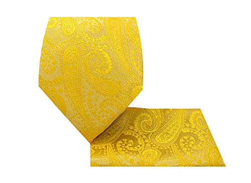 Paisley Necktie Set-1212-U-Paisley 2-Yellow Gold