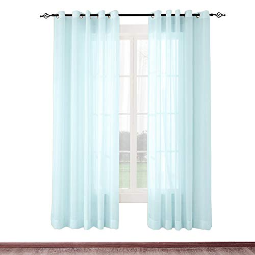 cololeaf Indoor Outdoor Sheer Curtain Patio| Porch| Gazebo| Pergola | Cabana | Dock| Beach Home| Backyard| Country| Garden| Wedding - Nickle Grommet - Sky Blue 52'' W x 102'' L (1 Panel) by cololeaf