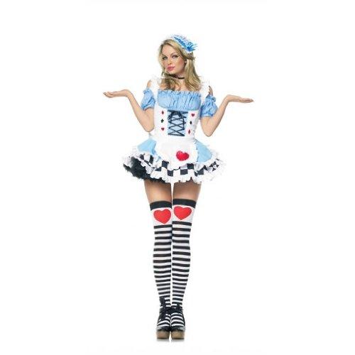 Miss Wonderland Costumes (Leg Avenue Women's 2 Piece Miss Wonderland Costume, Blue, Large)