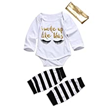 Baby Girl 3pcs Romper Suit Eyelash Long Sleeve Bodysuit+Leggings+Headband