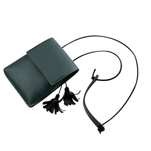Vbiger Bolso de hombro de la PU de las mujeres Mini bolso de mensajero de las borlas todo-fósforo Bolso cruzado del cuerpo Bolso de hombro elegante del viaje Verde oscuro