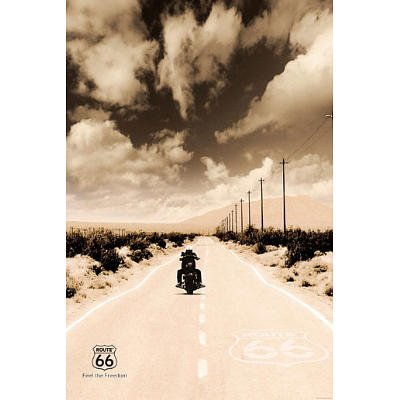 Route 66 Motorcycle Art Print Poster - 24x36 custom fit with RichAndFramous Black 24 inch Poster Hangers